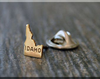 Brass State of Idaho Tie Tac, Lapel Pin, Idaho Brooch, Gift for Him, Gift Under 5 Dollars, Tiny State Tie Tack, Idaho State Pride Lapel Pin