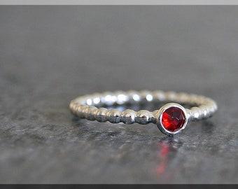 Sterling Silver Swarovski Birthstone Ring, Birthstone Stacking Ring, Mini Swarovski Ring, Choose Your Birthstone, Mother's Stacking Ring