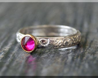 Sterling Silver Birthstone Ring, Choose Your Birthstone, Inverted Gemstone Ring, Floral Layered Ring, Stacking Birthstone Ring, Mixed Metals