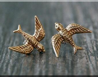 Soaring Sparrow Earrings. Gold Bird Post Earrings, Brass Sparrow Earrings, Handmade sterling silver post earrings, Nature Inspired earrings
