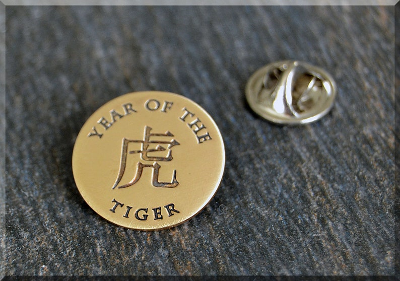 Gift for Him Zodiac Brooch Brass Year of the Tiger Tie Tac Unisex Zodiac Pin Chinese Zodiac Pin Lapel Pin