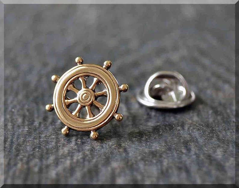 986e40ac86eee Brass Ships Wheel Tie Tac, Lapel Pin, Nautical Brooch, Gift for Him, Gift  Under 10 Dollars, Boat Tie Tack, Sailor Accessory, Unisex Pin