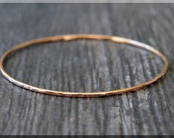 MTO 14k Rose Gold Filled Bangle Bracelet, Hammered Rose Gold Bangle, Rose Gold Stacking Bracelet, Minimalist Bracelet, Stacking Bangle