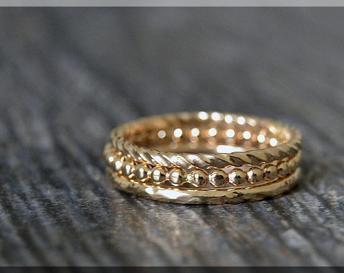 Featured listing image: Set of 3 14k Gold Filled Stacking Rings, Simple Stacking Rings, Stackable Gold Rings, Full Bead Ring, Hammered Ring, Twisted Ring, Gold Ring