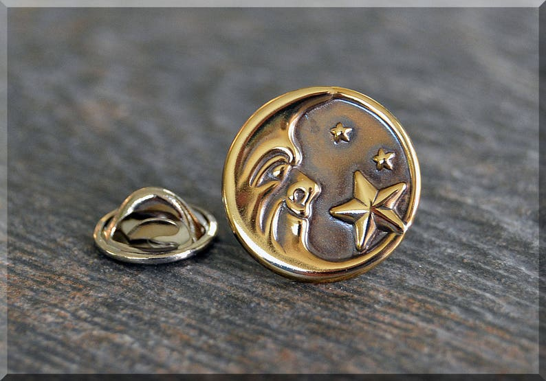 01a356c437c98 Brass Moon and Stars Tie Tac, Lapel Pin, Brooch, Gift for Him, Gift Under  10 Dollars, Celestial Tie Tack, Moon Face Unisex Pin