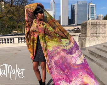 Tie Dye Wrap Dress Scarf Sarong Plus Size All Sizes: Goddess Gardens Wrap Handpainted by Natalia Hacerola.