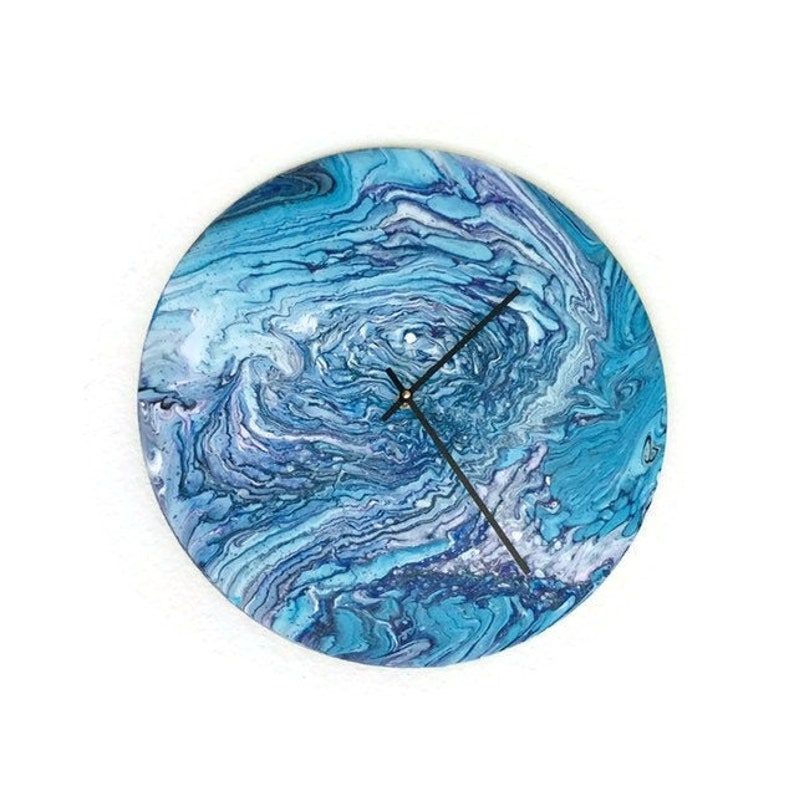 Large Wall Clock  Acrylic Pour Blue Wall Art  Large Silent image 0