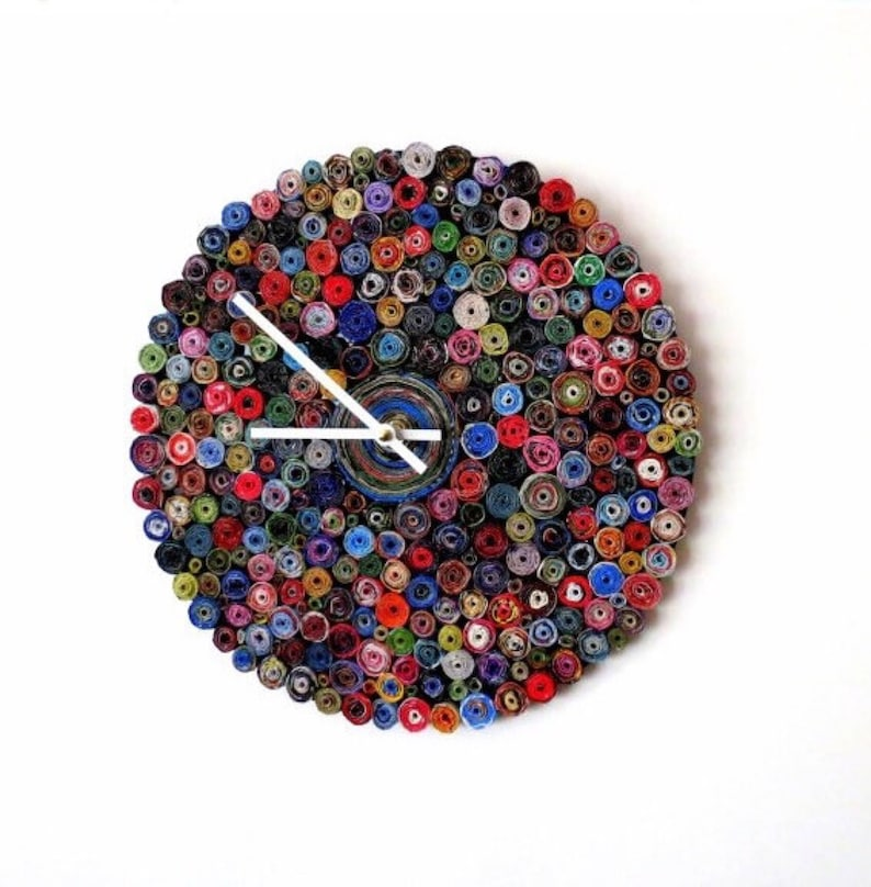 Rolled Paper Wall Clock Home Decor and Wall Art Paper Bead image 0