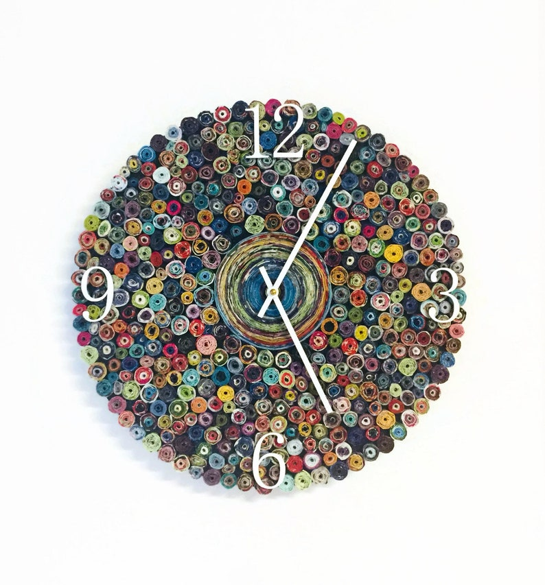 Wall Clock With Numbers  Paper Quilling  Silent Bedroom image 0