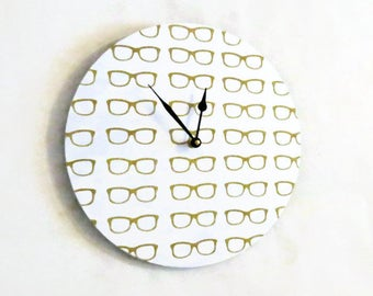 White Wall Clock, Eye Doctor Office Decor and Wall Art