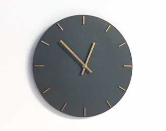Large Modern Wall Clock, Gray and Gold Wood Wall Art and Home Decor