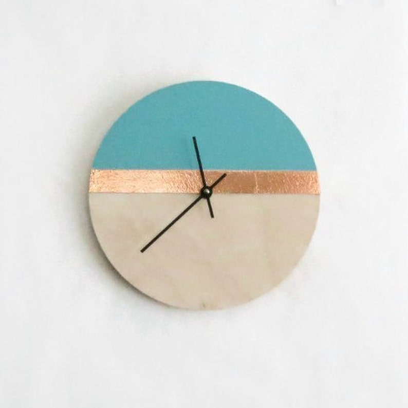 Modern Laser Cut Wood Wall Clock Blue and Copper Home Decor image 0