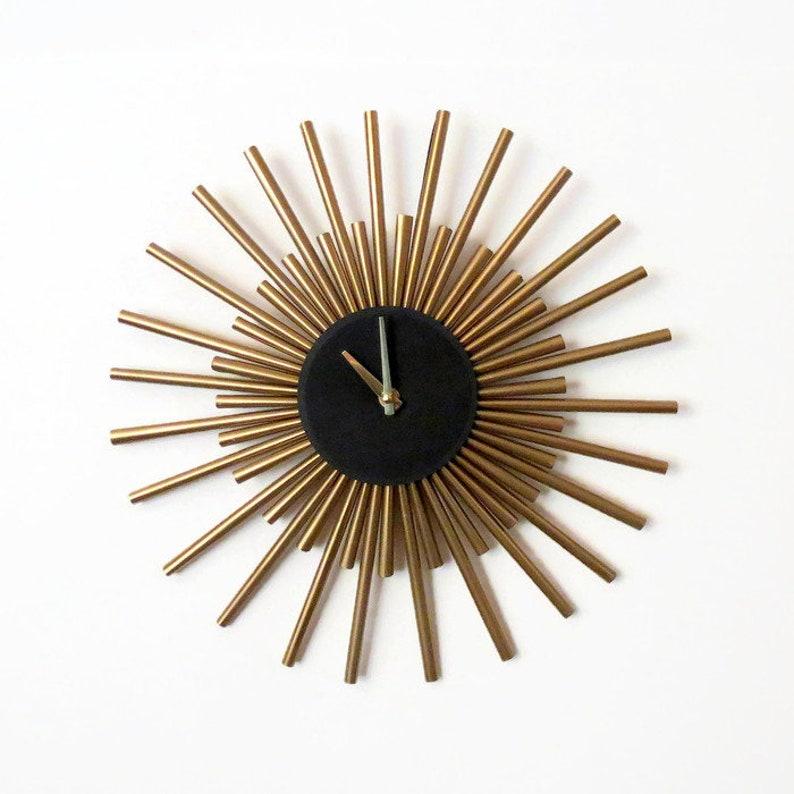 Gold Sunburst Clock Mid Century Modern Home Decor Large image 0