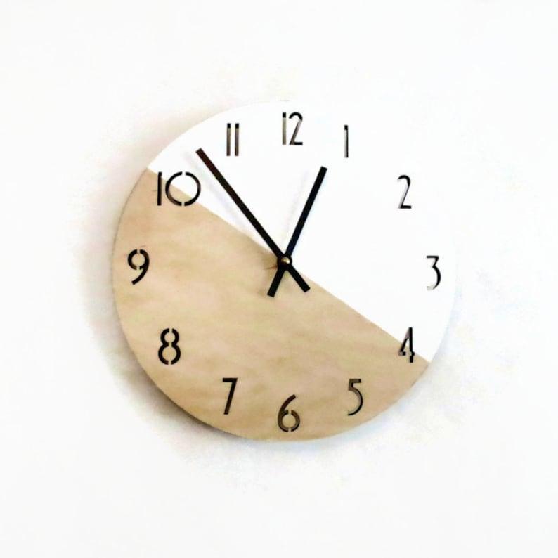 Modern Wall Clock  Scandinavian Wood Clock  Analog Clock image 0