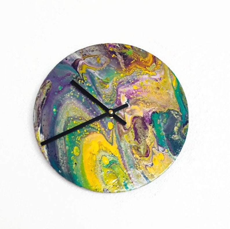 Acrylic Pour Clock Silent Bedroom Clock Abstract Wall Art image 0