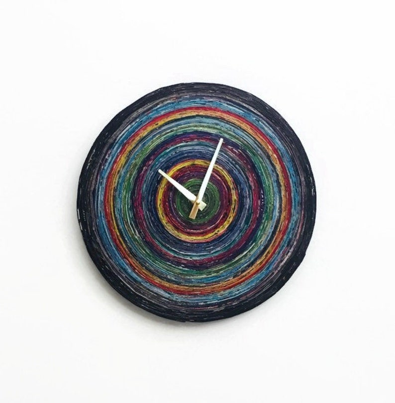 Rolled Paper Clock Silent Wall Clock Bedroom Wall Decor image 0