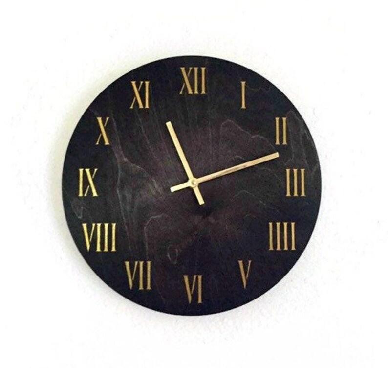 Roman Numeral Wall Clock Dark Wood Decor and Wall Art Quiet image 0