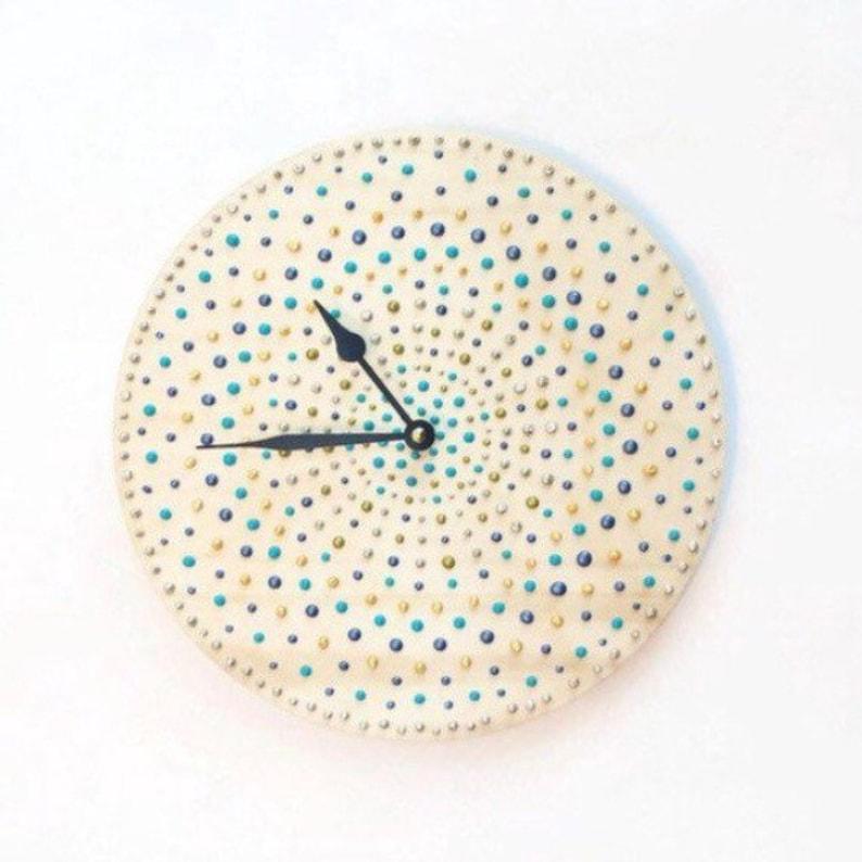 Large Wall Clock Reclaimed Wood Wall Art Polka Dot Bedroom image 0