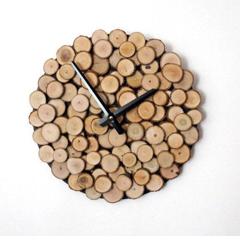 Wood Slice Clock  Reclaimed Wood Home Decor  Silent Office image 0