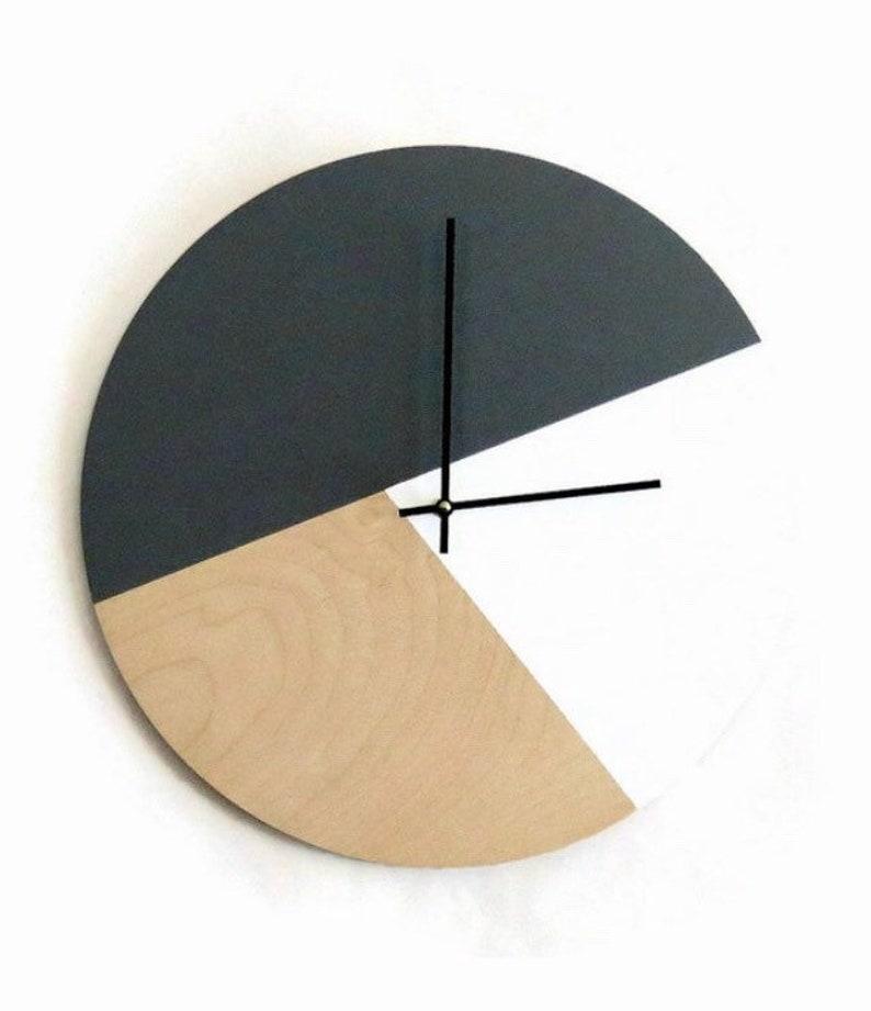 Modern Wall Clock  Silent Birch Wood Clock  Scandinavian image 0
