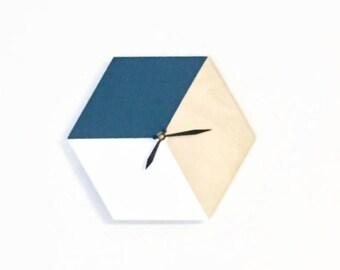 Geometric Wall Clock, Indigo Blue and White Home Decor and Art