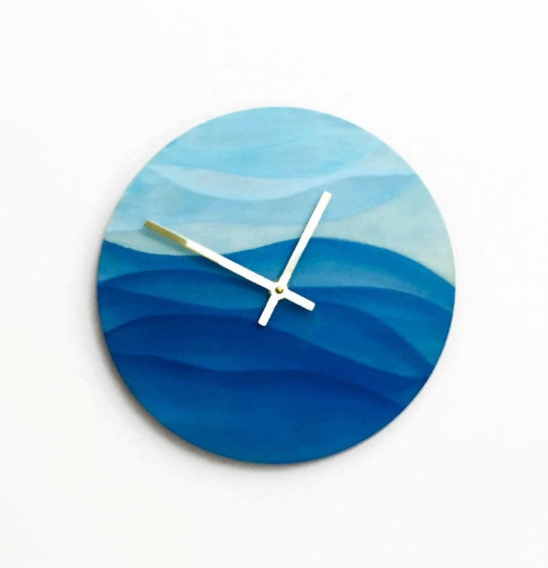 Ocean Blue Wall Clock  Silent Bedroom Clock  Ocean Waves image 0