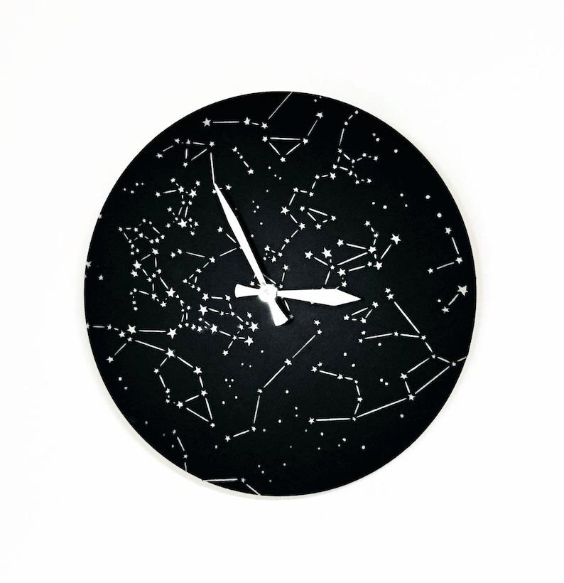 Constellation Wall Clock  Astrology Wall Art Silent Bedroom image 0