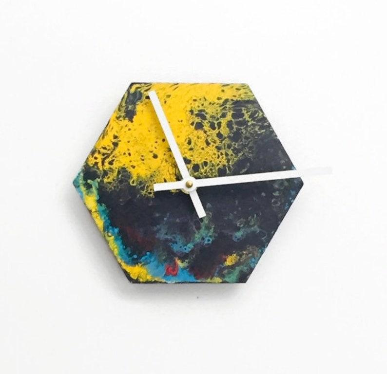 Modern Wall Clock  Acrylic Pour Art  Hexagon Wood Clock  image 0