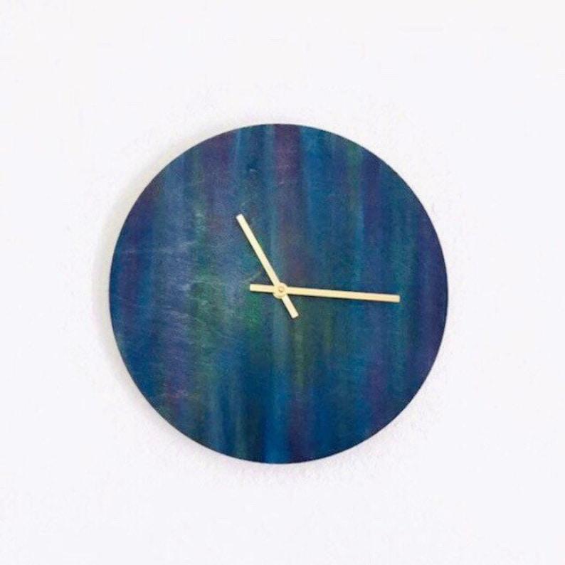Large Wood Wall Clock Blue Unicorn Spit Stain Organic image 0