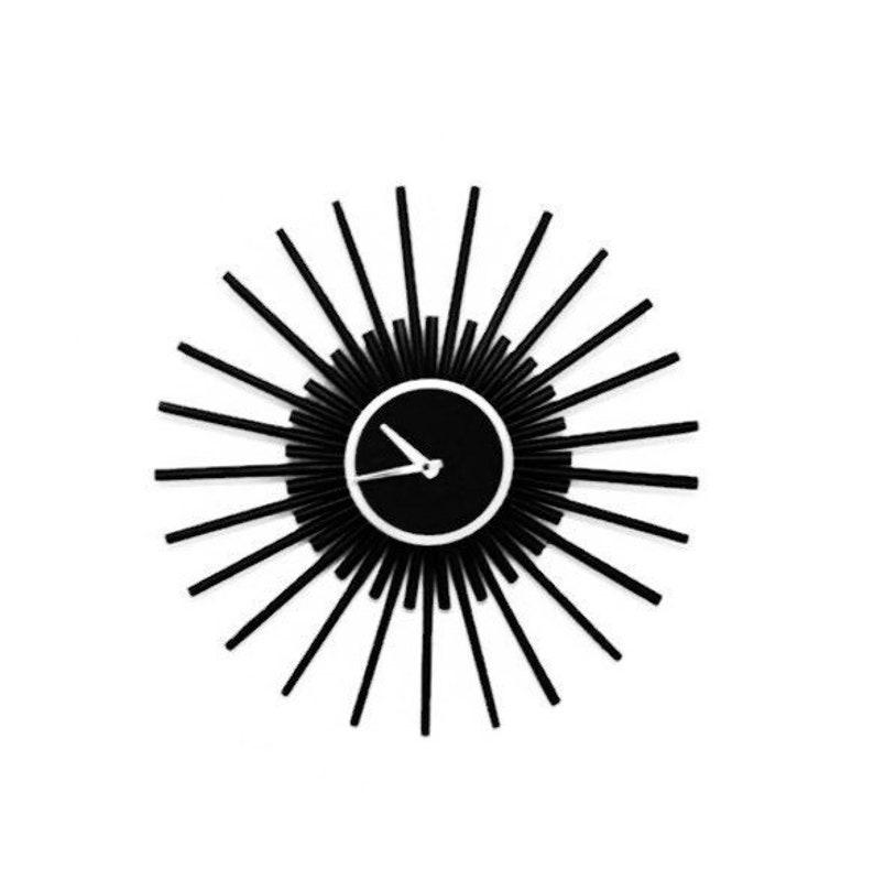 Mid-Century Sunburst Wall Clock Matte Black Home Decor  Zero image 0