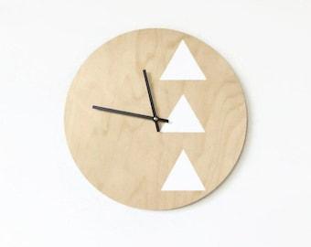 Modern Analog Clock, Wood Wall Art and Home Decor