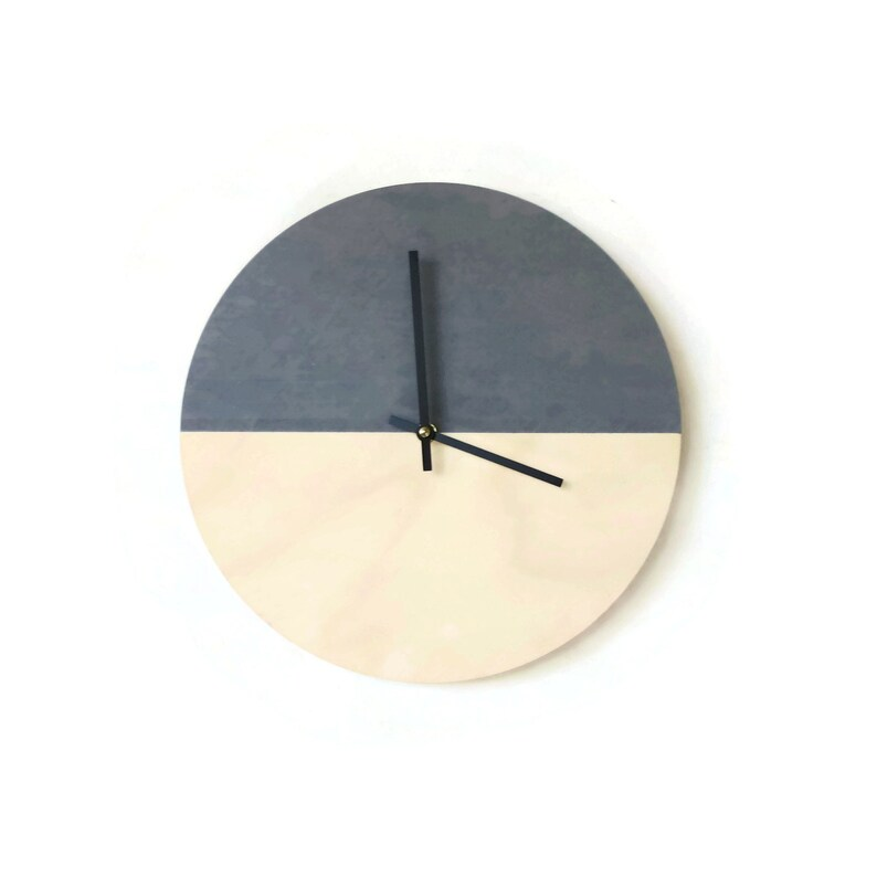 Modern Gray Clock For Walls Reclaimed Wood Home Furniture image 0