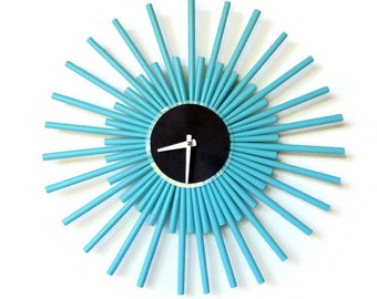 Nautical Blue Wall Clock, Wall Clocks Large, Handmade Clocks, Decor and Housewares