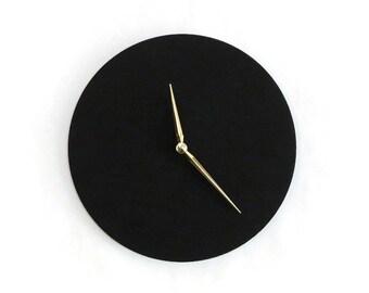 Modern Black Wall Clock, Large Wood Bedroom Wall Decor and Art