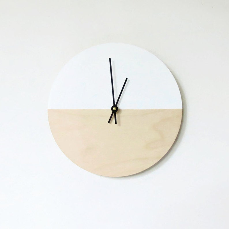 Modern Wall Clock  White Birch Wood Home Decor  Silent image 0