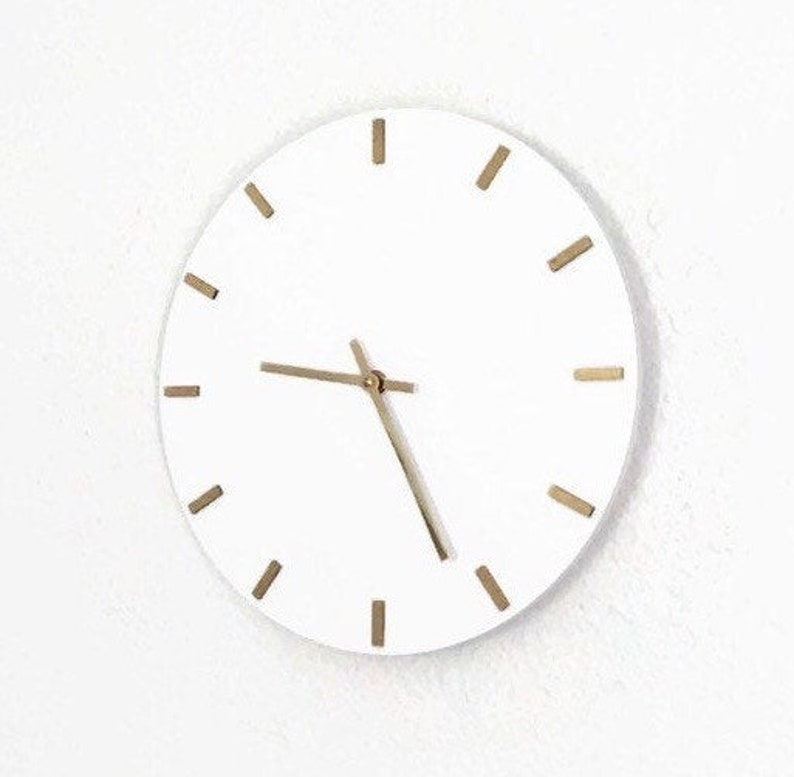 Modern Wall Clock  Silent White Clock  Numbered Bedroom image 0