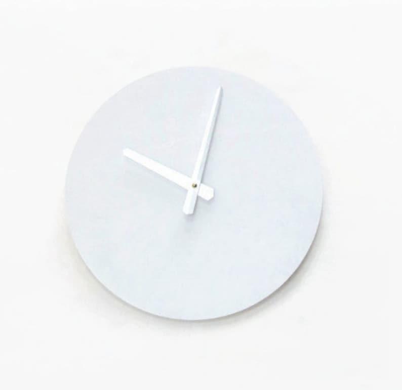 Modern White Clock  Silent Wall Clock  Minimalist Wood Home image 0