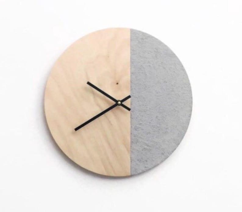 Modern Wall Clock  Wooden Clock  Housewarming Gift  image 0