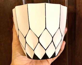 Art Deco Plant Pot - Geometric Boho Chic