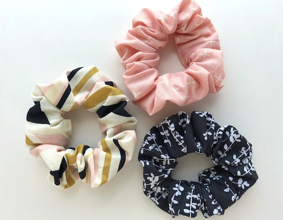 Light Pink Gold Hair Ties Organic Hair Scrunchies Top Knot and Messy Bun Scrunchy- Stripes Floral Scrunchie- Ponytail Set of 3 Black