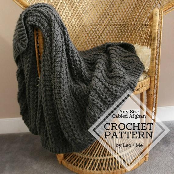Chunky Cable Crochet Blanket Pattern // Cozy Crochet Sweater | Etsy