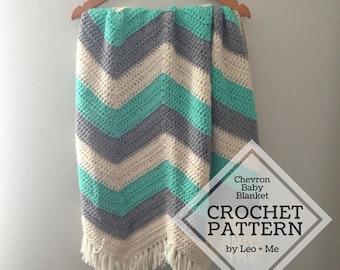 Chevron Crochet Baby Blanket Pattern // Zigzag Crochet Pattern // Heirloom Crochet // Easy Crochet Pattern // Baby Afghan