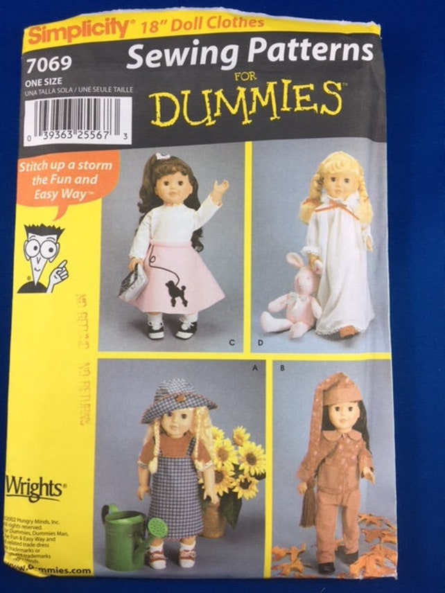 Simplicity 7069 Pattern For 18 Doll Clothes Etsy