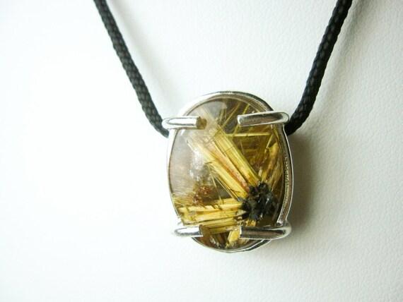 Golden Rutile Quartz Bar Necklace Gift For Her Crystal Necklace Golden Healer Rutile Quartz Jewelry Healing Necklace
