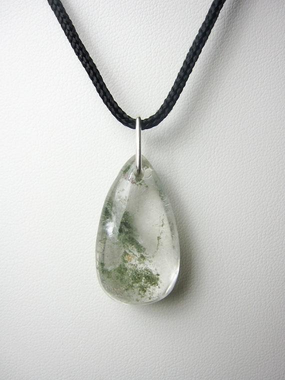 beadwork necklace Phantom quartz raw crystal necklace evening necklace, minimalistic jewelry garden quartz lodolite quartz