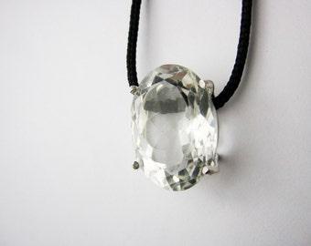 Natural Rock crystal Necklace, Rock crystal Jewelry, Rock crystal Pendant, Rock crystal Beads, Clear Quartz Necklace, Clear Quartz Pendant