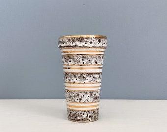 Vintage Mid Century Italian Ceramic Vase - Gold and Lava