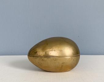 Vintage Brass Egg Shaped Box - Sarreid Ltd Brass Trinket Box