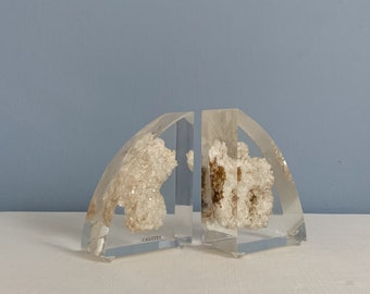 Vintage Mid Century Modern Lucite Bookends with Embedded Calcite
