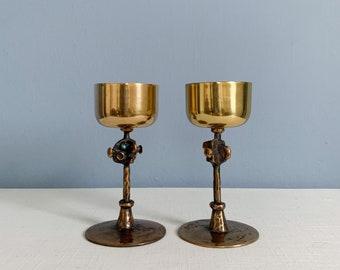 Vintage Pap Zoltan Brutalist Brass and Bronze Goblets
